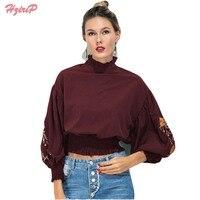 HziriP European Style Women Long Sleeve Blouses 2017 Spring Summer Floral Embroidery Shirts Ladies Vintage Crop