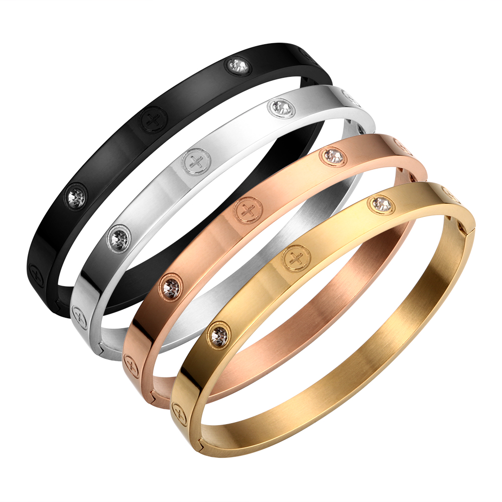 Bangle Bracelet Couple Wedding-Jewelry Gift Crystal Stainless-Steel Gold-Color Women title=
