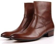 Мода коричневый/черный острым носом осенние мужские лодыжки сапоги мотоциклов обувь из натуральной кожи сапоги мужские наружные ботинки