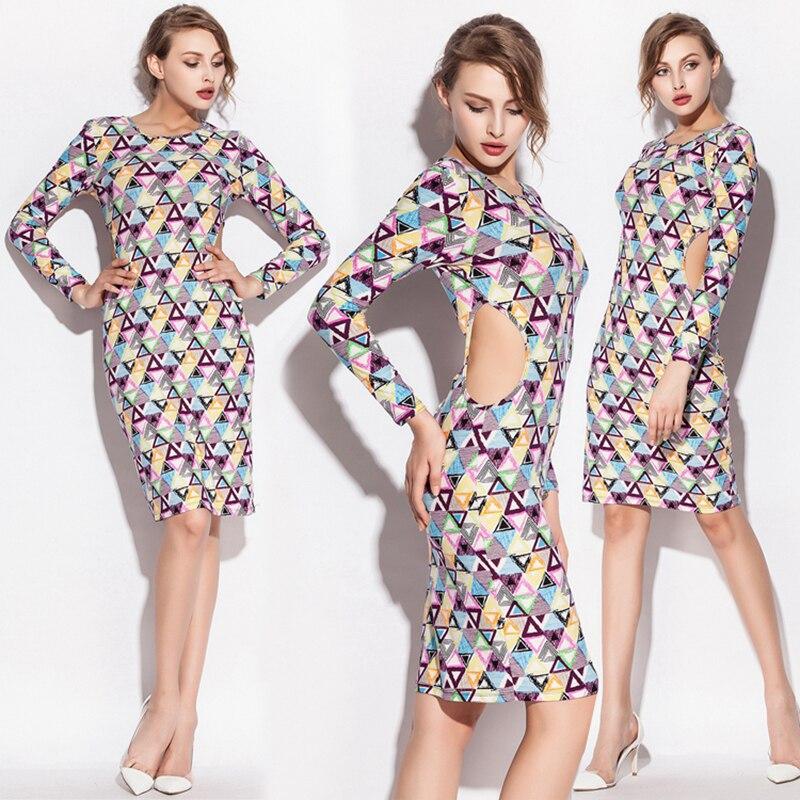Vintage Design Pravidelný tisk Tričko Spandex Comfort Dámské šaty Jednodílné boční dutiny Noční klubové šaty Drop Shipping