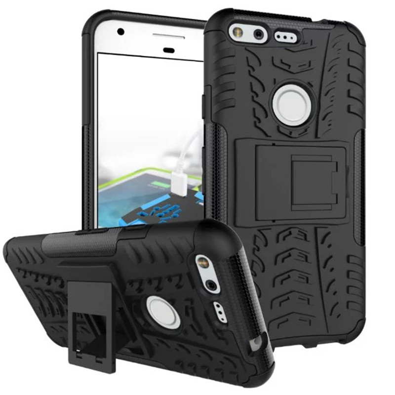 PC Heavy Duty Armor Stand Case For Google Pixel Case With Stand 5.0 Inch Protective Skin Double Color Shock Prooffor