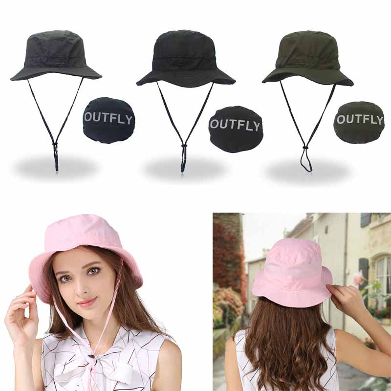 Just Unisex Summer Foldable Wallet Fisherman Bucket Hat Wide Brim Letters Printed Hiking Outdoor Beach Floppy Sun Cap Uv Protection