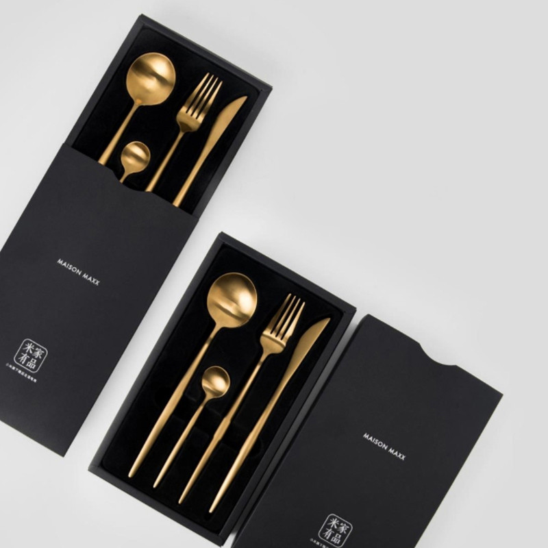4 pz Xiaomi Smart Home, Casa Intelligente Maision Maxx Cucchiaio In Acciaio Inox Set Coltello Cucchiaio Forchetta cucchiaio da Tè 4 Kit Ecologico Catena di marca