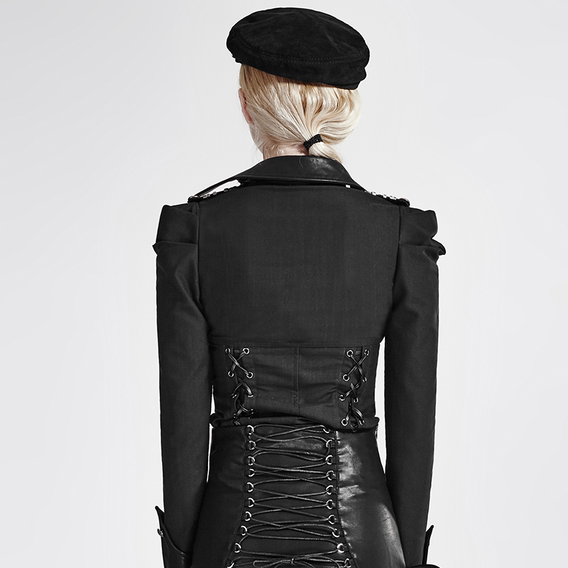 Slim Col Carré Steampunk Longues Noir Uniforme Femmes Casual Manches Pure Blouses Chemises Gothique Militaire Moulante Black Sexy Couleur z6znrvqw