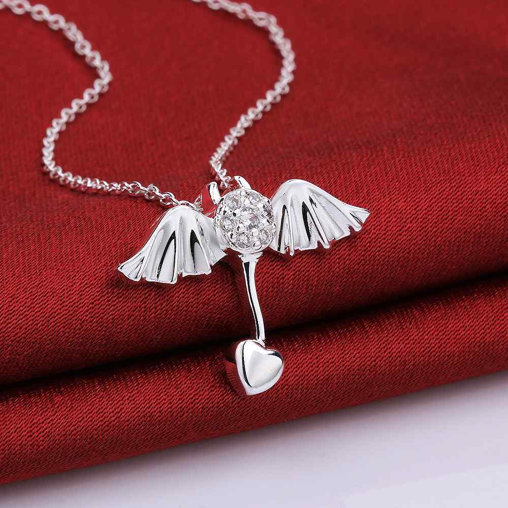 MKP10 women fashion fine jewelry, wings of an angel pendant ,silver necklace for lady vintage bird wings necklace for women