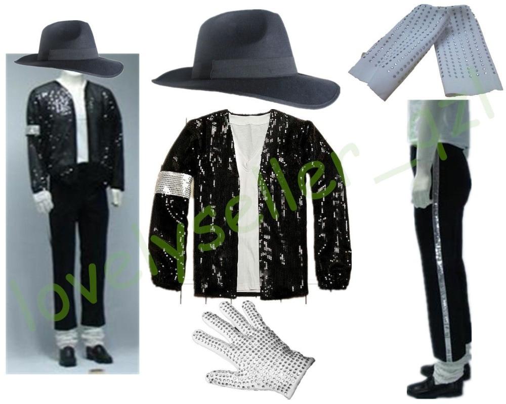 MJ Michael Jackson Billie Jean Abiti di Paillettes Giacca + Pantaloni + Cappello + Guanti + Calzini e Calzettoni Bambini Adulti Mostra Nero paillettes Pacthwork 4XS-4XL