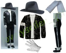 MJ Michael Jackson Billie Jean Suits Sequin Jacket Pants Hat Glove Socks Kids Adults Show Black