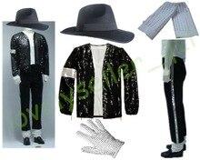 MJ Michael Jackson Billie Jean Suits Sequin Jacket+Pants+Hat+Glove+Socks Kids Adults Show Black Sequined Pacthwork 4XS-4XL