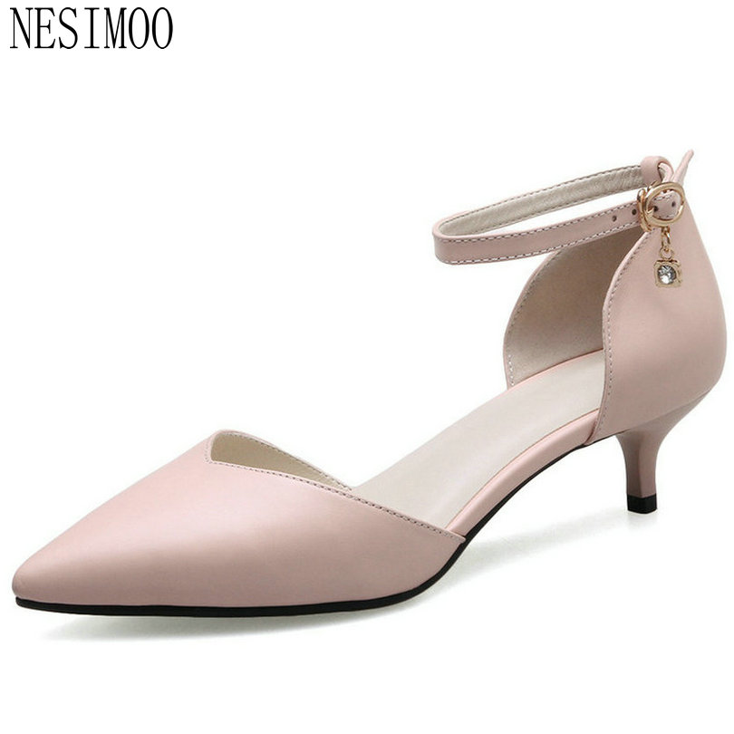 NESIMOO 2018 Women Pumps Fashion Thin Heel Women Shoes Buckle Pointed Toe Pink All Match Spring.autumn Wedding Pumps Size 34-41