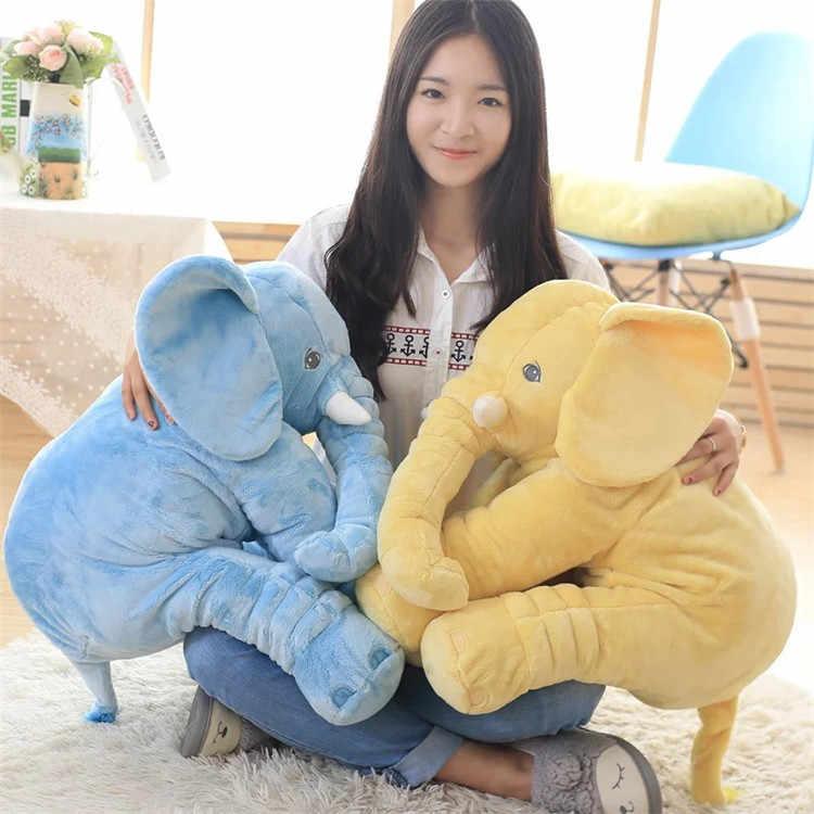 Sıcak 40cm60cm Yükseklik Büyük Peluş Fil Bebek Oyuncak Çocuklar Uyku Geri Yastık Sevimli dolma oyuncak fil Bebek Referans Bebek Noel Hediyesi