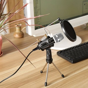 Image 3 - Metal Extendable Microphone Tripod Stand Boom Arm Microphone Bracket Folding with Shock Mount Mic Holder Clip and Filter