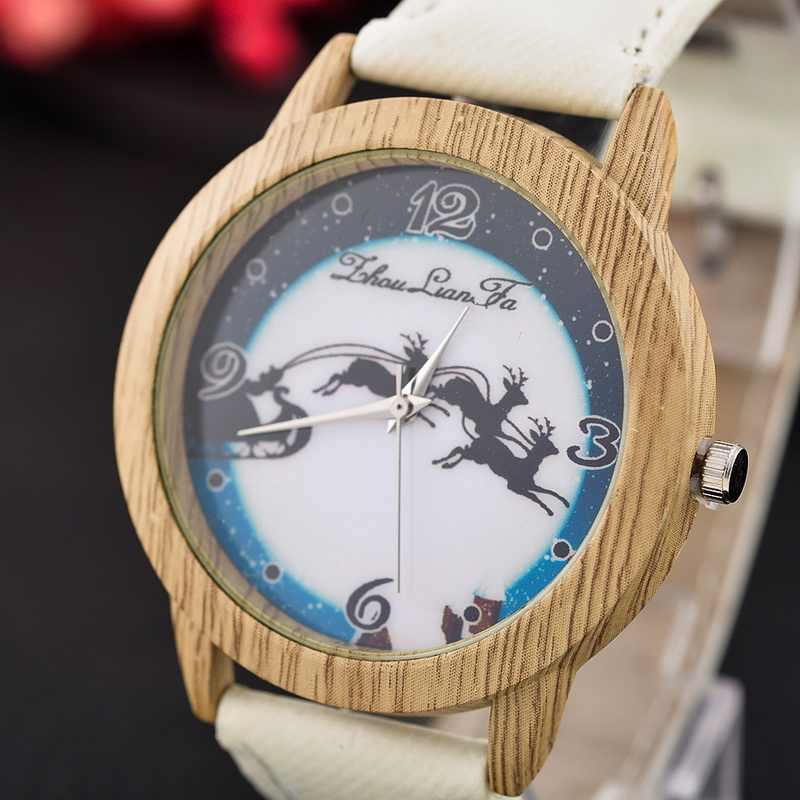 Relojes de pulsera de ciervo de la serie de Navidad de la manera Simple única de las mujeres de cuero de imitación de madera relojes casuales hombres Montre Homme
