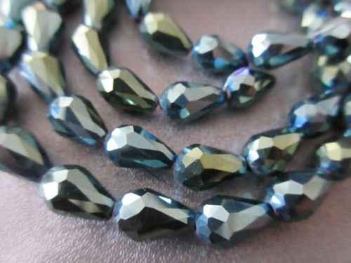 8*11 Mm Warna Abu-abu Kristal Manik-manik Longgar Teardrop Bentuk Rumbai Anting-Anting Gelang Jahit Ragam Kalung Perhiasan aksesoris