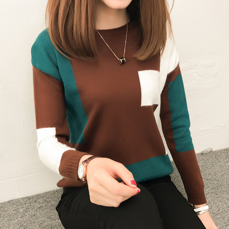 Inventive Women O-neck Pullover Sweater 2018 Autumn Winter New Patchwork Colorful Knitted Sweater Female Fashion Soft Warm Knitwear Can Be Repeatedly Remolded.