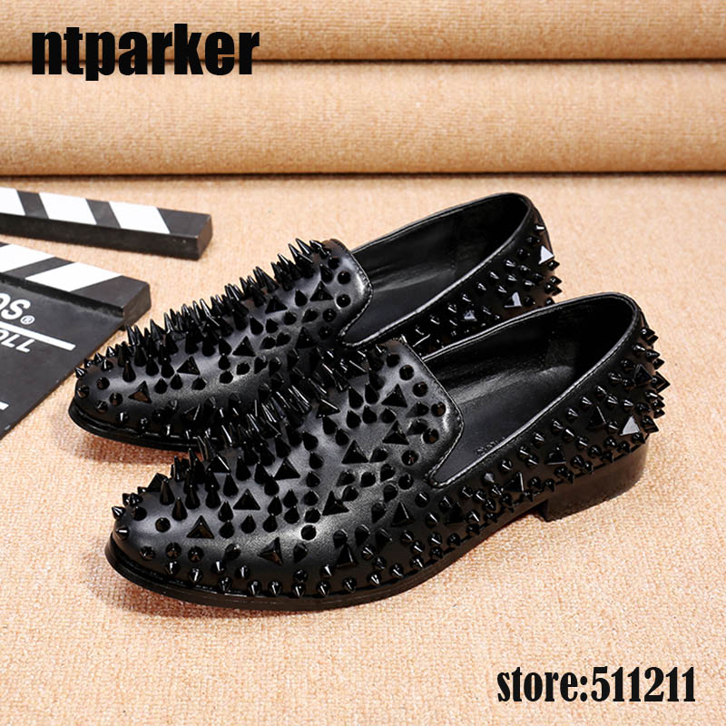 9b4e76e0af0 ntparker Italian Handmade Men s Flats Shoes Loafers Rivets Black Men s  Casual Dress Shoes for Men Wedding