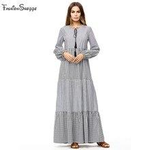 2018 Muslim plus size 4XL dresses Fashion Women Long Sleeve Polka Dot Print  Casual Loose abaya Party Long turkish dress 57d8e81b9d56