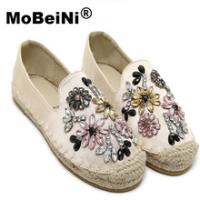 MoBeiNi Autumn Women loafer Round Toe espadrilles Pearl Comfortable Hemp Bottom Frisherman Shoes Slip On Zapato Mujer Black