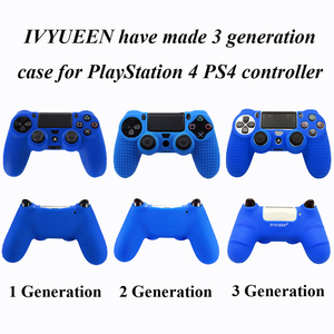 Image 2 - IVYUEEN New Version Silicone Case for Dualshock 4 for PlayStation 4 PS4 Pro Slim Console Skin Cover with Controller Grip Caps