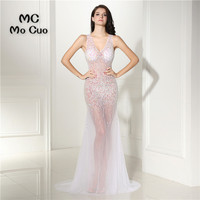 See Though Sexy Mermaid Prom Dresses With Crystals Beaded Vestidos De Fiesta Dress For Graduation Formal