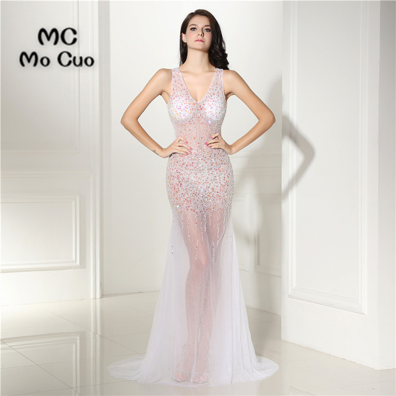 See Though Sexy Mermaid Prom dresses with Crystals Beaded Vestidos ...