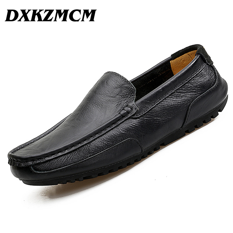 DXKZMCM 2017  Split Leather High Quality Men Casual Shoes Moccasins Shoes Flat Loafers Men Shoes