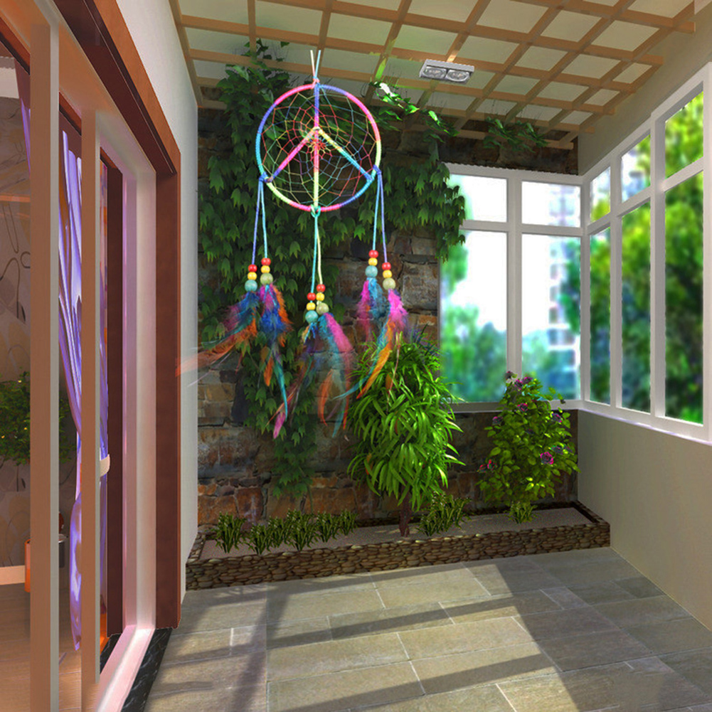 Handmade colorful fashion wind chimes indian style feather for Decoration hangers