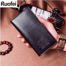 New fashion Brand Men Leather Men Wallets Business Brand Card holder Coin Purse Men's Long Zipper Wallet Leather B6