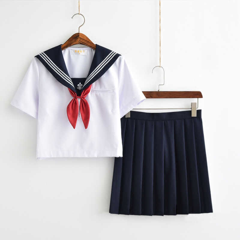 Trident Embroidery Japanese School Uniforms Sailor Uniform Navy Style Students Clothes For Girl Plus size Japanese School Skirt