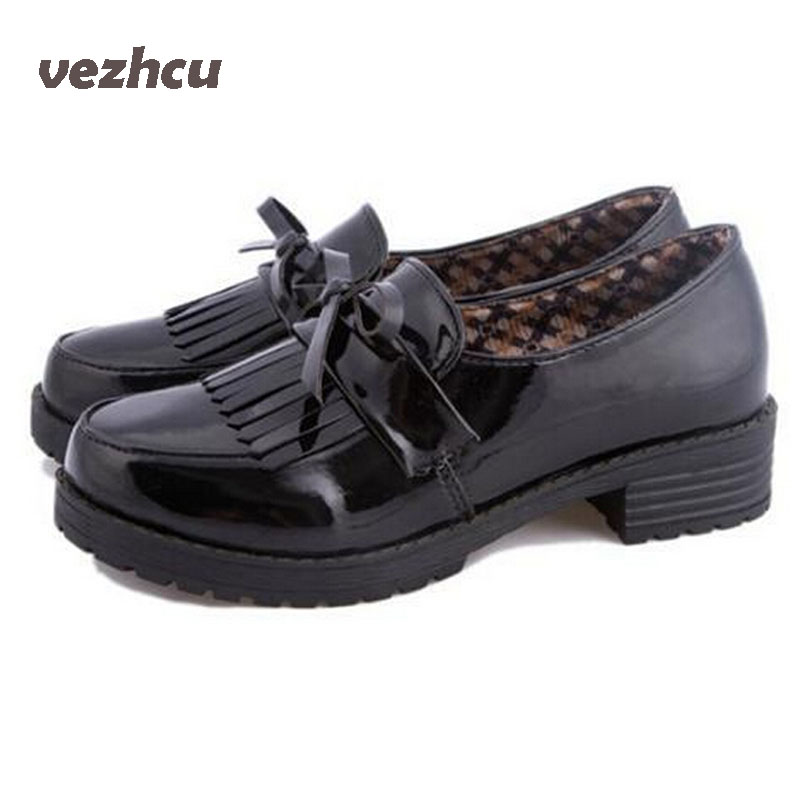 VZEHCU Loafers shoes Women British retro tassels Puleather shoes Flats shallow mouth round-head Patent Leather shoes woman 8A68