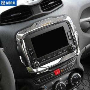 Image 2 - MOPAI Auto Center GPS Navigation Dekoration Rahmen Abdeckung Innen Aufkleber Zubehör für Jeep Renegade 2015 2017 Auto Styling