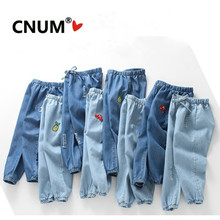 CNUM Kids Boys Pants Summer 면 Girls Denim 로 할때 겟했어요 진 씬 긴 Trousers Kids 옷 년 Kids Pants(China)