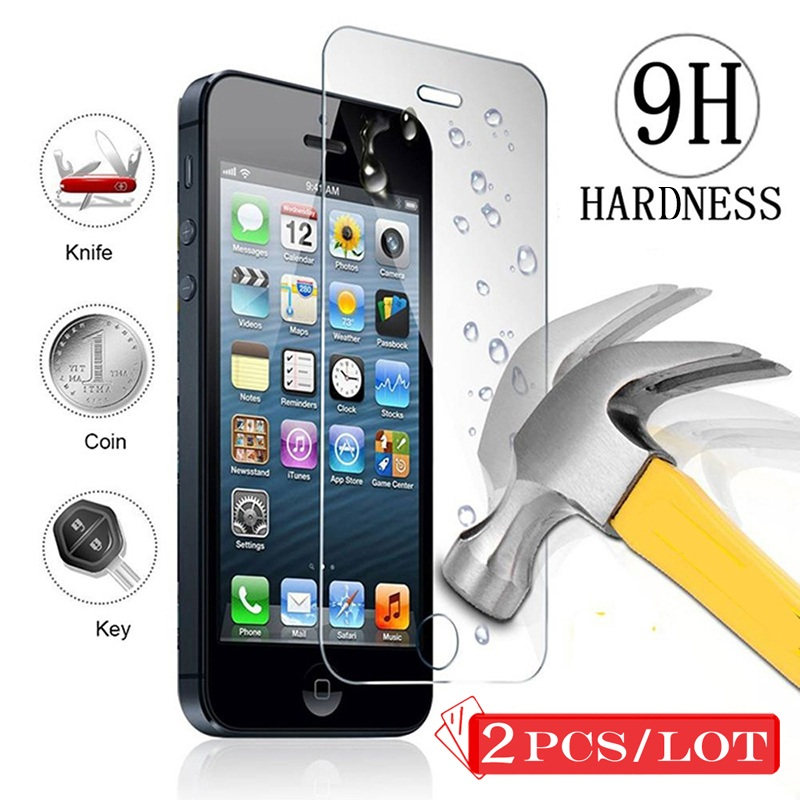 [2PCS]9H 2.5D Front Tempered Glass for iPhone 5S 5 5C SE Ecran Protection Protective Glass Screen Protector Flim For iPhone 5 5S