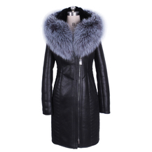 100% nature fox Fur collar Winter Fashion Faux suedette Women Coat Fur Slim Hooded Thickened Bust 140 CM New Factory wholesale