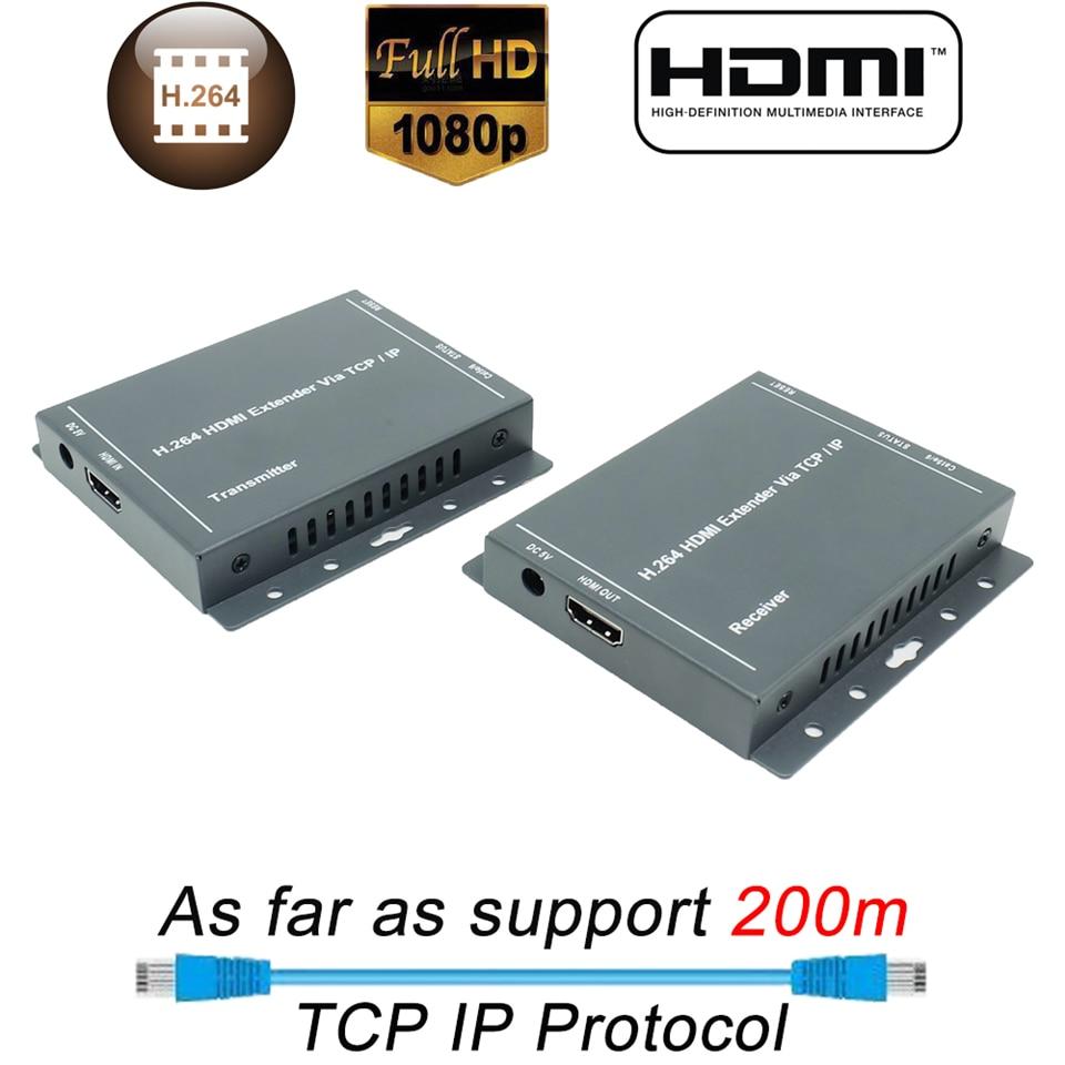 2019 New 200m H.264 HDMI Extender RJ45 Over IP TCP LAN Network HDMI Extender By Cat5 Cat5e Cat6 UTP/STP HDMI Extensor Ethernet