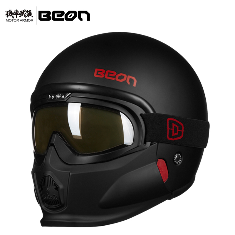 цена Brand BEON Motorcycle Retro Black White Cruiser Helmet Moto Vintage Classical Open Half Face for Harley Bike Summer ECE Approval