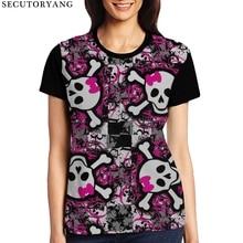 ФОТО secutoryang brand designer women's t shirt skull pattern summer women top short sleeve tee shirts for teen girls fitness clothes
