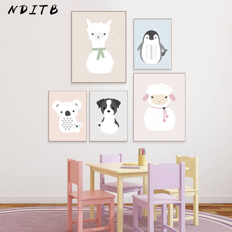 NDITB Kawaii Cartoon Animal Canvas Painting Llama Bear Dog Poster Nursery Art Print Wall Picture for Baby Kid Bedroom Decoration image