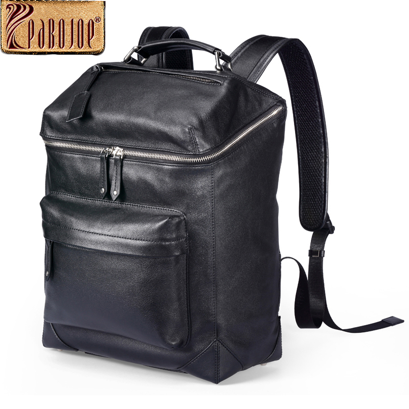 Pabojoe Backpack 100% Genuine Leather Casual Women 14inch 15.6inch Computer Daypack Shoulder School Travel Bag for Men 14 15 15 6 inch flax linen laptop notebook backpack bags case school backpack for travel shopping climbing men women
