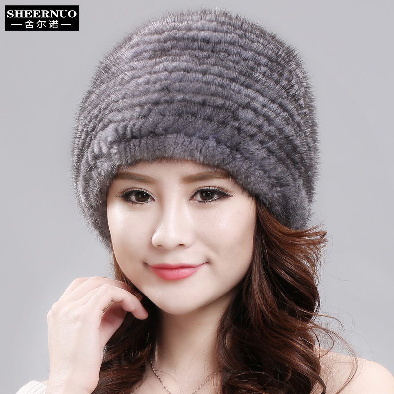 sheernuo New fur mink hat ladies winter thermal wrap hat fashion all in one mink fur fur hatMiddle aged and old