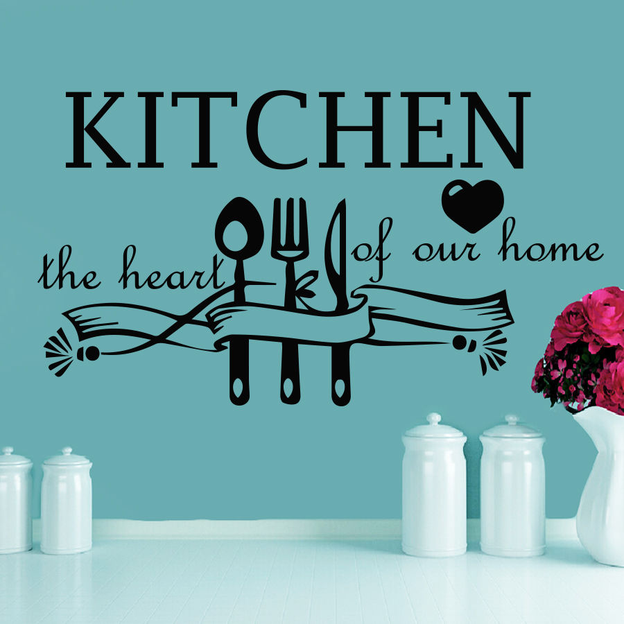 ᗔWall Decal Quotes Kitchen The Heart Of Our Dining Room Home Vinyl ...