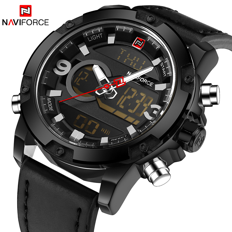 NAVIFORCE Top Brand Luxury Men LED Sports Watches Men's Army Military Leather Strap Wrist Watch Quartz Clock Relogio Masculino top brand luxury waterproof men sports watches men s quartz led digital clock male army military wrist watch relogio masculino