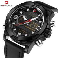 NAVIFORCE Top Brand Luxury Men Digital LED Sports Watches Men S Army Military Leather Strap Watch