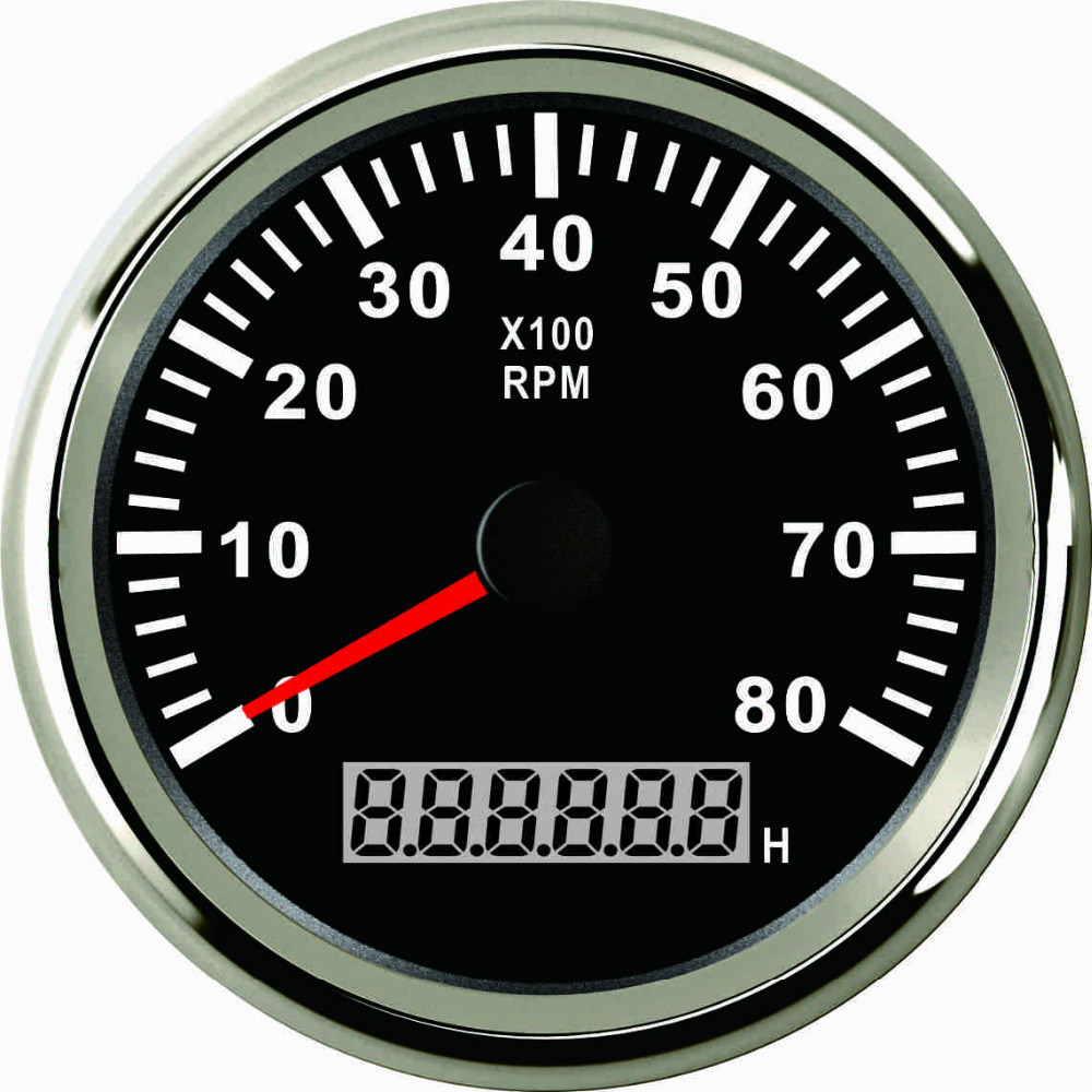 Tachometer RPM Gauge With Hour Meter For Car Truck Boat Yacht 0-8000RPM 85mm