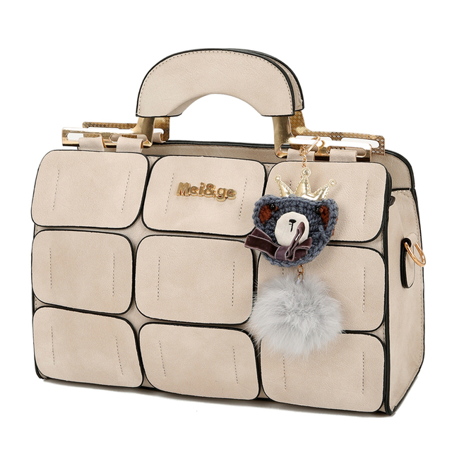 Fashion Women Handbag With Dolls 9 Grid Splicing Hand Bags Ladies Top-Handle Bag Zipper Hasp Clutch  New Totes