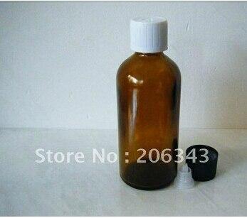 100ml brown/green/blue essential oil bottle with plastic cap +plastic stoper ,glass bottle