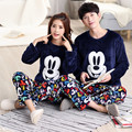 New winter long sleeve Lovers pajamas men &women sleepwear Warm flannel Cartoon Leisure Home clothes loose couple pajamas set