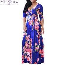 Women's short Sleeve Dresses Floral Print Maxi Long Dress with Sashes Deep V-Neck 2019 Summer Plus Size 3XL 4XL 5XL Beach Dress plus deep v neckline fluted sleeve geo print dress