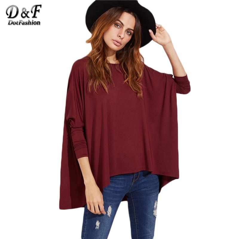 Dotfashion Femmes Chemises Nouvelle Mode Manches Longues Tops Femmes  Bourgogne Bateau Cou Surdimensionné Dolman Manches T-shirt 81e8b3a3f874