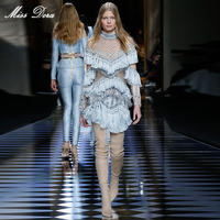 2016 Новинка роскошные высокого качества цвет небесно синий взлетно посадочной полосы платье Lindsay виксон стильные женские длинные рукава бел