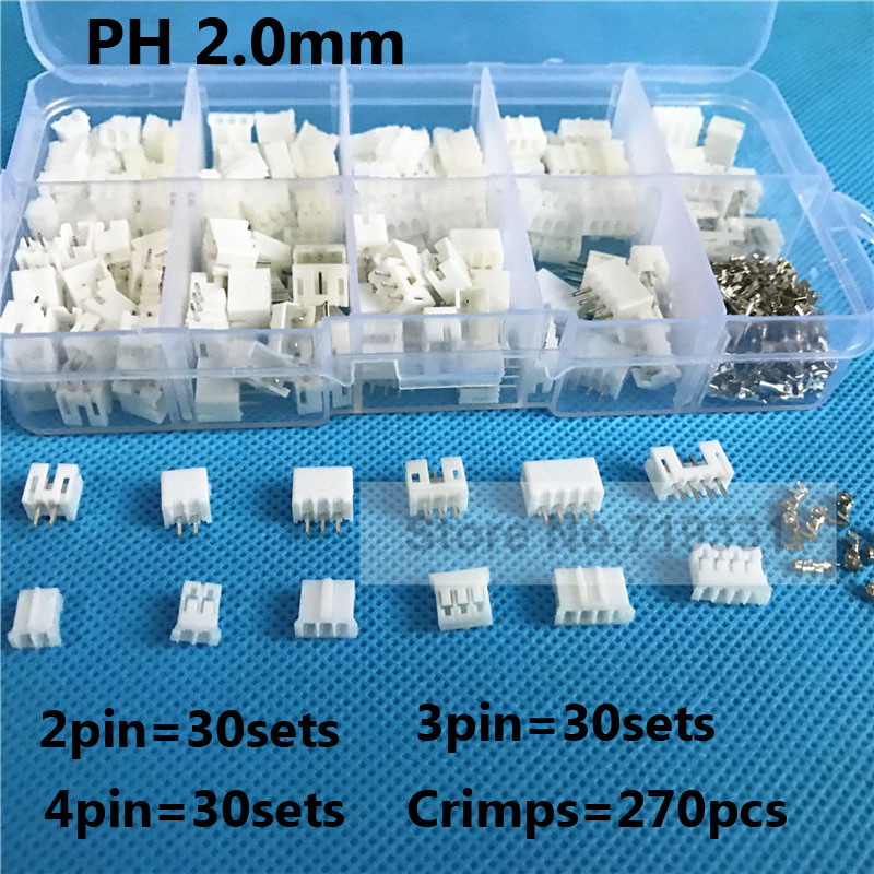 90sets Kit in box 2p 3p 4 pin 2.0mm Pitch Terminal / Housing / Pin Header Connector Wire Connectors Adaptor PH 2P Kits